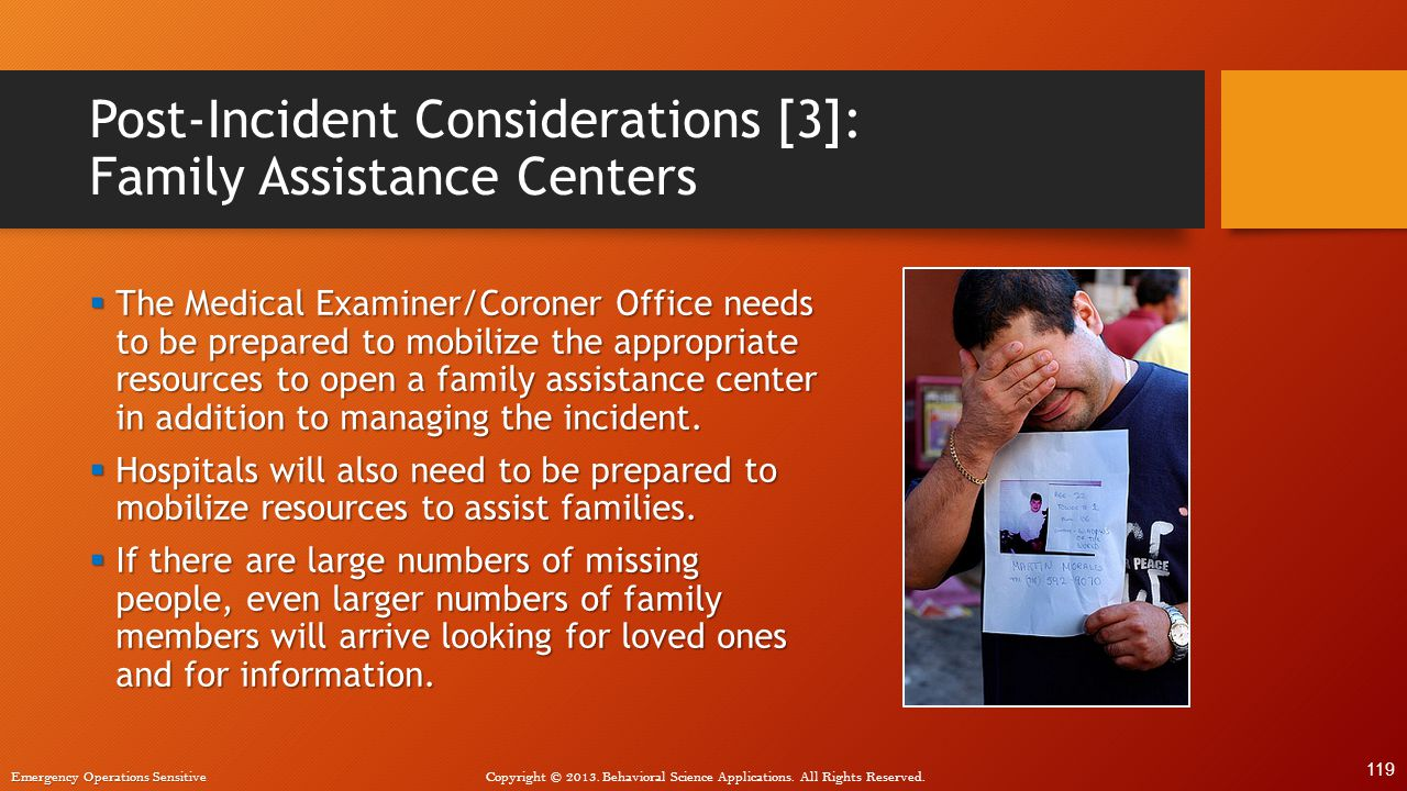 Post-Incident Considerations [3]: Family Assistance Centers